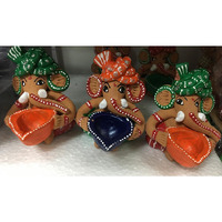 Beatiful Design Ganesh Idol Shape Clay Diya for Diwali - 1 Pc