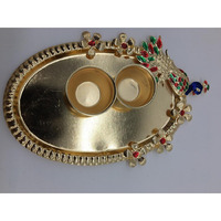 Oval Golden Peacock Return Gift Pooja Thali w/ Vati 6
