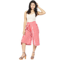 Craft Darbar Women's Designer Culottes / Wide Capri Pants Cotton Satin Stripe (White & Red)