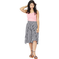 Craft Darbar Women's Designer Culottes / Wide Capri Pants Cotton Satin Stripe (White and Blue)