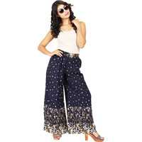 Craft Darbar Women's Designer Rayon Viscose Flower Print Palazzo / Wide Capri Pants / Trousers (Blue)