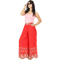 Craft Darbar Women's Designer Rayon Viscose Flower Print Palazzo / Wide Capri Pants / Trousers (Red)
