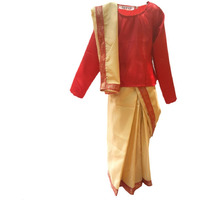 KFD Bihu Saree Fancy dress for kids,Indian State/Dance Costume for Annual function/Theme Party/Competition/Stage Shows Dress