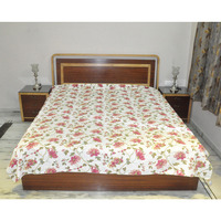 Festival Bedspread Cotton White Print Bedding Bedsheets Bed Cover