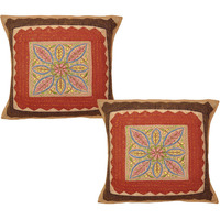 Indian Cotton Cushion Covers Pair Embroidered Flower Patchwork Pillowcases 40 Cm