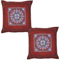 Indian Maroon Cushion Covers Pair Embroidered Flower Cut Kantha Pillowcases 40 Cm