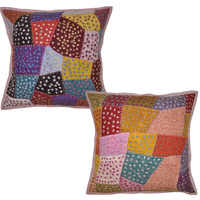 Cushion Covers Vintage Embroidered Colorful Pillow Cases 16 Inch House Warming Gift