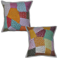 Decorative Indian Cushion Covers Patchwork Pillow Cases 16 X 16 Bedding Gift