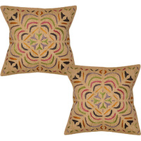 Ethnic Cotton Cushion Covers Pair Floral Embroidered Beige Square Pillowcase 16 Inch