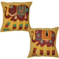 Ethnic Cotton Cushion Covers Elephant Patchwork Yellow Bedding Pillow Cases 40 Cm