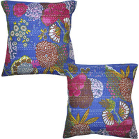 Vintage Indian Printed Cotton Cushion Covers Handmade Blue Pillow Case Throw 16 Inch