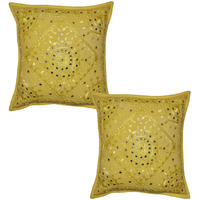 Yellow Cushion Covers Pair Indian Embroidered Handmade Cotton Pillow Case 16X16 Inch