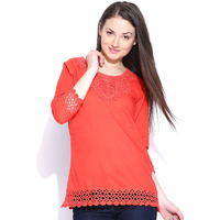 Casual 3/4th Sleeve Crochet Neck Detail Solid Women's Campus Wear Orange Top