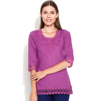 Casual 3/4th Sleeve Crochet Neck Detail Solid Women's Campus Wear Purple Top
