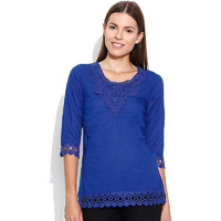 Casual 3/4th Sleeve Crochet Neck Detail Solid Women's Campus Wear Royal Blue Top