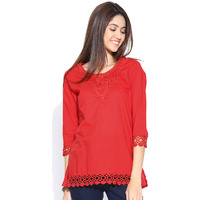 Casual 3/4th Sleeve Crochet Neck Detail Solid Women's Campus Wear Red Top