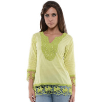 Casual 3/4th Sleeve Crochet Neck Detail Solid Women's Campus Wear Green Top