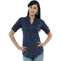 Casual 3/4th Sleeve Crochet Neck Detail Solid Women's Campus Wear Navy Blue Top