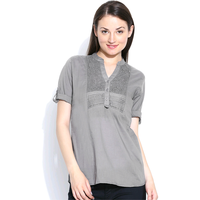 Casual 3/4th Sleeve Crochet Neck Detail Solid Women's Campus Wear Grey Top