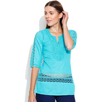 Casual 3/4th Sleeve Crochet Neck Detail Solid Women's Campus Wear Turquoise Blue Top
