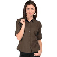 Casual Roll Up Sleeve Slim Fit Solid Women's Campus Wear Brown Shirt