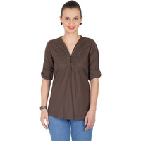 Casual 3/4th Sleeve Crochet Neck Detail Solid Women's Campus Wear Brown Top