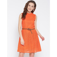 Women's Self Design Orange Party Wear High neck Fit and Flare Polyester Western Wear Dress