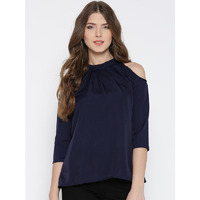 Casual 3/4th Sleeve Solid Women Navy Blue Polyester Cold Shoulder Top