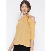 Casual 3/4th Sleeve Solid Women Beige Polyester Cold Shoulder Top