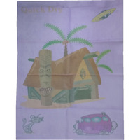 Quick Dry Bed Protector Printed - 626 M Lilac