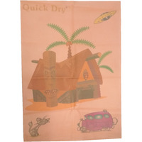Quick Dry Bed Protector Printed - 626 M Peach