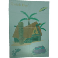 Quick Dry Bed Protector Printed - 626 M Sea Green