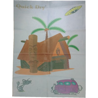Quick Dry Bed Protector Printed - 626 M Sky Blue