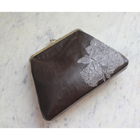 Handbags for Women Shoulder Leatherette With White Thread Work Brown Clutch