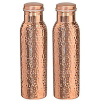 Set of 2 PCs Hand hammered 100% Pure Copper Drinkware Water Bottle Leak Proof Serving Flask 20 Oz
