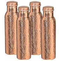 Set Of 4 Pcs Hand Hammered 100% Pure Copper Drinkware Water Bottle Leak Proof Serving Flask 20 Oz