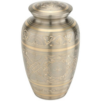 Royal Memorial Classic Pewter Golden Brass Cremation Urn.