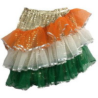 Pink Apricot Tricolor Tiranga fancy Skirt Party Cosplay Halloween Costume
