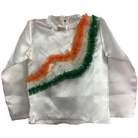 Pink Apricot Tricolor Tiranga Satin frill Shirt Party Cosplay Halloween Costume