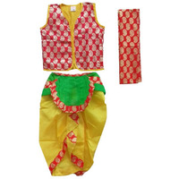Pink Apricot Kids Krishna Dress Jacket dhoti with dupatta for Kids Competitions