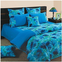 Blue Flowers Bed Sheet- Shades Of Paradise (D. No. 6715)|Fitted best thread count bedsheet pure cotton| fast delivery|bed cover bedsheet 100% Cotton (800 TC)
