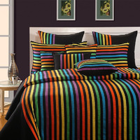 Vivid Rainbow Fitted Bed Sheet ??? Magical Linea- 1504|King size Bed Sheet Bed Cover Bed Spread 800 TC,5 Pillow Set| fast delivery|100% Cotton