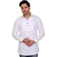 Garun White Solid Men's Straight Kurta