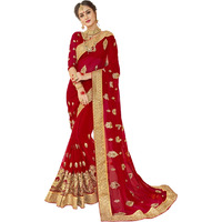 Triveni Redcolour Pure Georgette Wedding WearSarees