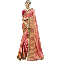 Triveni Peachcolour Silk Party WearSarees