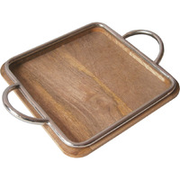 Golmaalshop Square Tray With Iron Pipe Handle.