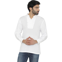 Raas Men White Cotton Mandarin Collar Shirt (Color: White)