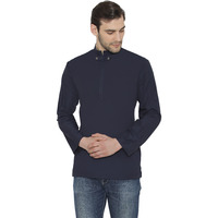 Raas Men Blue Mandarin Collar Cotton Shirt (Size: S, Color: Navy)