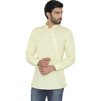 Raas Men Yellow 100% Cotton Asymetrical Placket Shirt (Size: L, Color: Yellow)