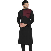 Raas Men Black Cotton with Pocket Detail Straight Kurta (Color: Black, Size: S)